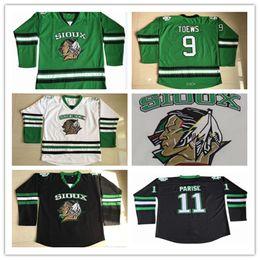 Toews jerseys verdes online-Hombres Jonathan Toews Jersey Dakota del Norte Combate Sioux Hockey Jersey 7 TJ Oshie 11 Zach Parise en blanco Jerseys cosidos de Green University