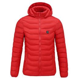 Apparecchiature di temperatura online-Nuovo elettrico Riscaldamento Down Jacket unisex del cotone di inverno Abbigliamento USB Temperature Control Coat intelligente di sicurezza attrezzature per esterni
