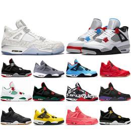 chaussures simples Promotion Top Laser de Mode Ce Que Les 4 Chaussures De Basketball Gris Frais 4s Race Blancs Pizzeria Simple Journée Raptors Hommes Baskets Designer Baskets 7-13