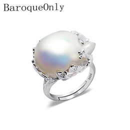 Anelli barocchi online-Baroqueonly 925 Anello in argento 15-22mm Big Size Baroque Irregular Pearl Ring, Women Gifts MX190713