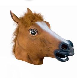 Маска головы животного Голова лошади Бейсбольная партия Унисекс и свободный размер Маска Хэллоуина Смешная маска каждый день от Поставщики защитный кабель для передачи данных