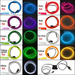 Toptan 9-color 12 V USB Güç Invertör 1 M Araba Esnek Kalıplama EL Neon Glow Aydınlatma Halat Şerit Ile Fin # 5768 nereden güç şeritleri toptan ticareti tedarikçiler