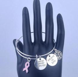 Mai rinunciare ai gioielli online-Argento d'epoca mai non mollare la consapevolezza del cancro al seno amuleti bracciali espandibili per le donne gioielli di moda regali accessori