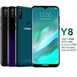 "Doogee baterias on-line-6.1"" Tela Waterdrop Doogee Y8 4G LTE 3GB 32GB Quad Core MTK6739 Android 9.0 Rosto ID Fingerprint 3400mAh Bateria GPS 8MP Smartphone Camera"