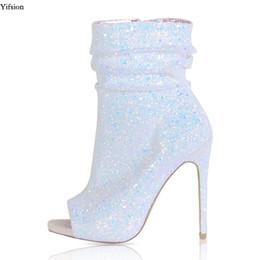 botines morados sexy Rebajas Olomm Recién llegado Mujeres Botines con purpurina Zapatos de tacón alto delgados y sexy Zapatos con punta puntiaguda Zapatos de fiesta morados blancos Tamaño EE. UU. 4-15