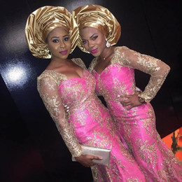 Vestido de noche de retrato online-2019 Ilusión de Oro africana del cordón vestidos de noche de manga larga Bellanaija Retrato Estilos sirena nigerianos vestido de fiesta Vestidos de Fiesta
