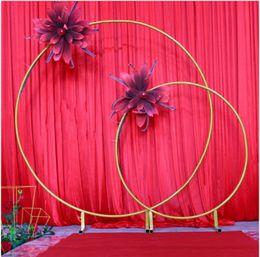 le luci stellate gialle stellate Sconti Grandi dimensioni Bridal Large Iron Round Ring Arches Frame Sfondo Decorazione Flower Door Frame Decorazione di nozze Puntelli