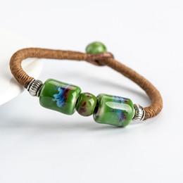 Pulseira cerâmica jingdezhen on-line-Jingdezhen cerâmica frisado pulseiras Bangles Amor Boho de jóias de cerâmica para as mulheres gota 2019 novo design e moda