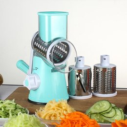 manual kitchen chopper Promo Codes - Manual Vegetable Cutter Slicer Multifunctional Round Mandoline Slicer Potato Cheese with 3 Stainless Steel Chopper Blades Kitchen Gadgets