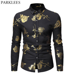 button down mens shirt Promo Codes - Mens Hipster Bronzing Rose Print Shirt Men Long Sleeve Gold Floral Button Down Dress Shirts Black Slim Fit Prom Chemise Hommes Tops