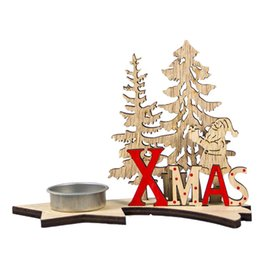 2019 hirschkerzen Holz Kerzenhalter Dekorationen DIY Carving Deer Santa Kerzenhalter Handwerk Weihnachten Neujahr Home Party Tisch Ornamente rabatt hirschkerzen