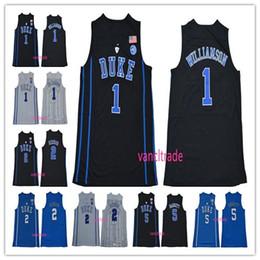 Came blanche en Ligne-Maillot de basket-ball universitaire Duke Blue Devils 2019 de la NCAA 1 Zion Williamson 2 Cam rougeâtre 5 RJ Barrett Bleu Noir Blanc Maillot de basket-ball universitaire