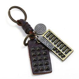 Медные связки ключей онлайн-New Creative Abacus Key Chains Pendant Copper Alloy Car Keyring Retro Cowhide Leather Keychains For Men Jewelry Accessories