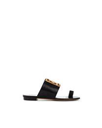 Sandali piatti in pelle nera donna online-2019ss womens fashion nero bianco rosso 4g Flat Leather Buckle Sandals flats slippers size euro 35-41