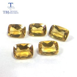 Tbj, citrino naturale ott 5 * 7 gemma taglio smeraldo 925 gioielli in argento sterling montatura 5 pezzi in un lotto gemme sciolte da laboratorio creato pietre preziose fornitori
