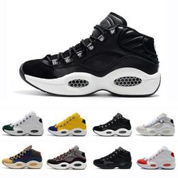 Nero hi top scarpe da ginnastica online-Allen Iverson 1 Verde Oliva Nero Giallo risposte scarpe che ho Uno di pallacanestro per Top Quality 1s Uomini preparatori atletici delle scarpe da tennis Taglia 40-46