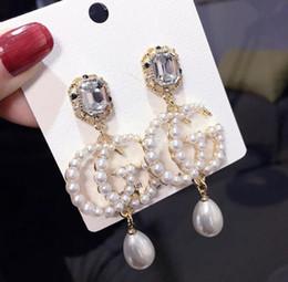 orecchini in oro 18k per bambino Sconti Hot lusso doppia lettera orecchini donne famose designer orecchini stud gioielli da sposa partito regalo di san Valentino accessori 5739