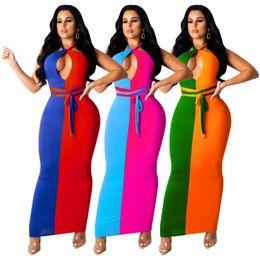 Vestidos longos no tornozelo on-line-Designer grosso 2019 Verão Maxi Vestidos Tornozelo Comprimento Apertado Longo Bodycon Vestido Fora Do Ombro Sem Encosto Sexy Clube Vestidos de Festa Vestidos