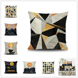 2019 estrelas da lua do sol Fronha simples Nordic Sun moon star com figura geométrica fronha capa de almofada de sofá de escritório em casa de fibra de Linho desconto estrelas da lua do sol