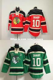 Tomada de fábrica-Chicago Blackhawks # 10 Patrick Sharp Old Time vermelho Verde Hoodies Do Hóquei Camisolas jerseys, Bordado NameNumber de Fornecedores de verde hóquei hoodies