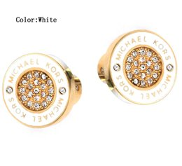 rhinestone letter earrings Promo Codes - Fashion Mixed Styles Gold Plated Gold Silver Rose Gold Heart Tone Rhinestone Letter Style Logo Stud Brand Earrings Wholesale