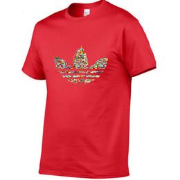 O europeu 3d imprimiu camisetas on-line-Luxo 2019 verão dos homens T-shirt tamanho Europeu marca sapatos AD logoT-shirt impresso camiseta de algodão 3D roupas de grife S-XXL t-shirt de golfe