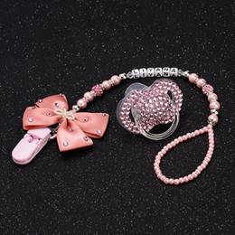 Ciucci rosa online-Personalizzato-qualsiasi nome Set Stunning Pink Holder Dummy Clip con ciuccio Bling per Lovely Baby Q190530