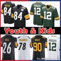 692655382 good Youth Kids Pittsburgh 84 Steelers Antonio Brown 78 Alejandro  Villanueva Green Jersey Bays Packers 12 Aaron Rodgers 90 T.J. Watt 26 Bell aaron  rodgers ...