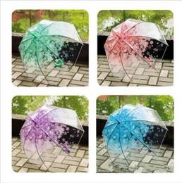 guarda chuva automático Desconto Guarda-chuvas Sakura Transparente Guarda-chuva Semi Automático Crianças Guarda-chuvas Bonito Guarda-chuva Longo Lidar Com Chuva Guarda-Chuvas Praia Do Casamento Umbrella LT608