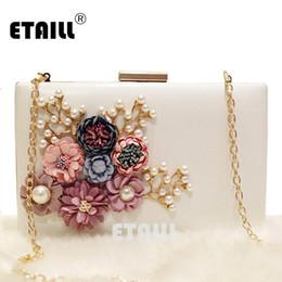 Bolso del día de la boda de la novia online-ETAILL Floral Day Clutch Bag Bolsos de boda blancos y monederos para novia Bolso de noche con cadena de oro Square Party Pearl Banquet