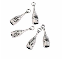 Tibetische perlen für schmuck machen online-Tibetischen Silber Weinflasche 3D Anhänger Perle Charms Fit Europäischen Armband Halskette Ohrringe Schmuck Machen Handwerk Geschenk Zubehör 19X12mm