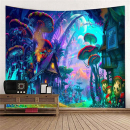 2019 funghi a parete Fairytale Mushroom World Tapestry Wall Hanging Stampa artistica Appeso a parete Arazzo Soggiorno Camera Da Letto Comodino Tenda Decorazioni sconti funghi a parete