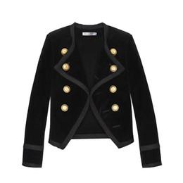 guarnição da pele de capa preta Desconto 2019 Novo design Runway Mulheres entalhado Collar Curto Jacket Casaco de Inverno Abotoamento Terno Feminino Black Velvet Magro Outwear