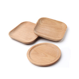 wood plates Coupons - Dessert Beech Plate Dish Wooden Plate Dish Square Fruits Platter Dish Tea Server Round Tray Wood Cup Holder Bowl Pad Tableware VF1575