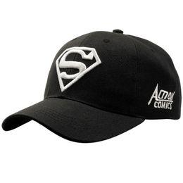 Superman chapéu preto on-line-2019 Preto Branco Nova Carta Superman Cap Bonés De Beisebol Ao Ar Livre Casuais Para Homens Chapéus Mulheres Snapback Caps Para Adulto Chapéu De Sol Gorras atacado