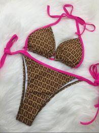 großhandel mode badeanzüge Rabatt Sommer Marke Badeanzug Für Frauen Sexy Bikini Set Fashion Branded Frauen Bademode Mit Buchstaben Dame Backless Badeanzüge S-XL Großhandel