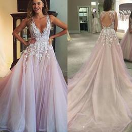 2019 vestido de novia de línea hermosa princesa hombro Una línea de apliques Corte tul vestido de la manera V del cuello atractivo de encaje sin espalda de tren Vestido de Noiva Vestidos de boda elegantes)
