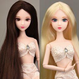 roupas de plástico para meninas Desconto 2019 New 3D Olhos reais Nude Nu Original XINYI boneca / Gold Brown Cabelo Comprido 14 Joint Movable / Para DIY 1/6 brinquedos meninas BJD Boneca Y191213
