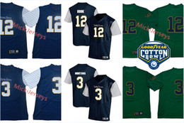 Mens NCAA Notre Dame Fighting Irish Joe Montana del calcio Jersey # 12 Ian Prenota Notre Dame Fighting Irish 2018 Shamrock Serie gessato Jersey da notre dame fighting irish jersey fornitori
