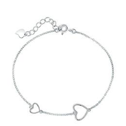 Bracelet de cheville coeur en argent sterling en Ligne-S925 Sterling Silver Mignon Clavicule Bracelet Cheville Femmes En Forme de Coeur Tempérament Bracelet Cheville Vente Chaude