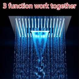 Führte eingebettete dusche online-Multi Funktion LED-Licht Duschkopf 16-Zoll-Quadrat Embedded Decke Regen Dusche Fernbedienung LED Regen Wasserfall Massage Duschköpfe