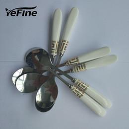 Cucharas de cerámica online-Yefine 6 PC / cuchara de cerámica universal de la manija de acero inoxidable para las cucharas pequeñas del té del café