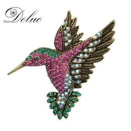 Spilla di uccelli di cristallo online-Retro cristallo Picchio spilla Serie animale Corpetto Gioielli Spilla pin per accessori di stoffa Strass Bird Spilla Pin gioielli da sposa