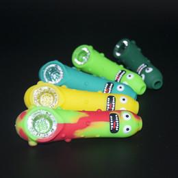 2019 cucharear las uñas Nuevo estilo Pickle Pipe Pepino Hand Silicone Pipes Con recipiente de vidrio Cuchara Pipe Bongs Oil Nail Hand Pipe Fumar Accesorio cucharear las uñas baratos