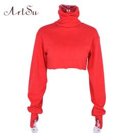 Donne tshirt crop online-Artsu Red Sexy Manica Lunga Crop Top Tshirt Donna Ragazza Power Dolcevita Stranger Things Maglietta Tee Shirt Femme Asts20252 J190511