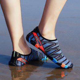 422cd771e51 Men Woman Quick-Drying Aqua Shoes Summer Outdoor Wading Shoes Swimming  Slipper On Surf Beach Skin Sock Striped Water Shoes discount rubber swim  shoes men