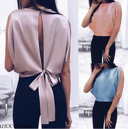 Camicia sleeveless senza schienale online-2019 Camicetta donna primavera estate sexy t-shirt senza maniche bow-knot sexy backless tinta unita da donna