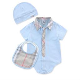 Mesi vestiti infantili estivi online-Baby Boys Pagliaccetti manica corta infantile Tute Estate Neonate che coprono gli insiemi Vestiti neonato del bambino per 3-24 mese