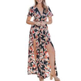 Tuta di gamba larga del collo alto online-DOUDOULU 2019 donne stampa floreale in chiffon tute lunghe scollo a V gamba larga pagliaccetto tuta per le donne #SS