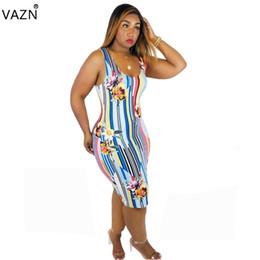 2019 vestidos de fadas VAZN verão 2019 mulheres casual fahsion sem mangas em torno do pescoço colete tipo impresso na altura do joelho confortável vestido multicolor PY8348 desconto vestidos de fadas